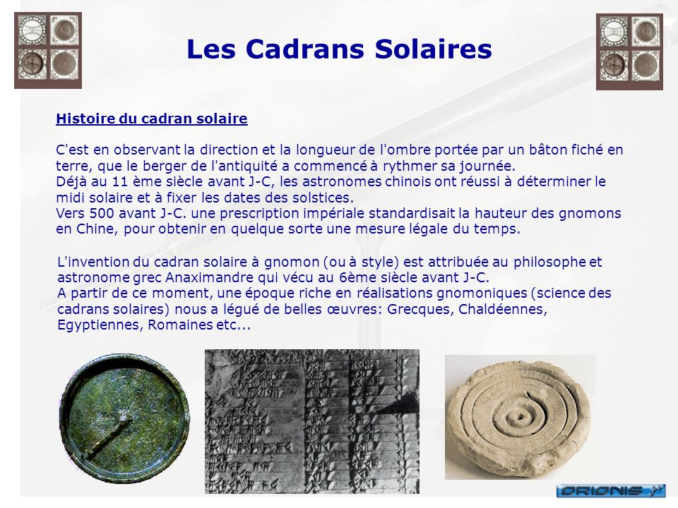 Les Cadrans Solaires Histoire du cadran solaire