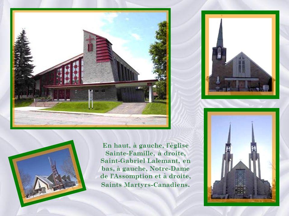 En haut, à gauche, l'église Sainte-Famille, à droite, Saint-Gabriel Lalemant, en bas, à gauche, Notre-Dame de l'Assomption et à droite, Saints Martyrs-Canadiens.