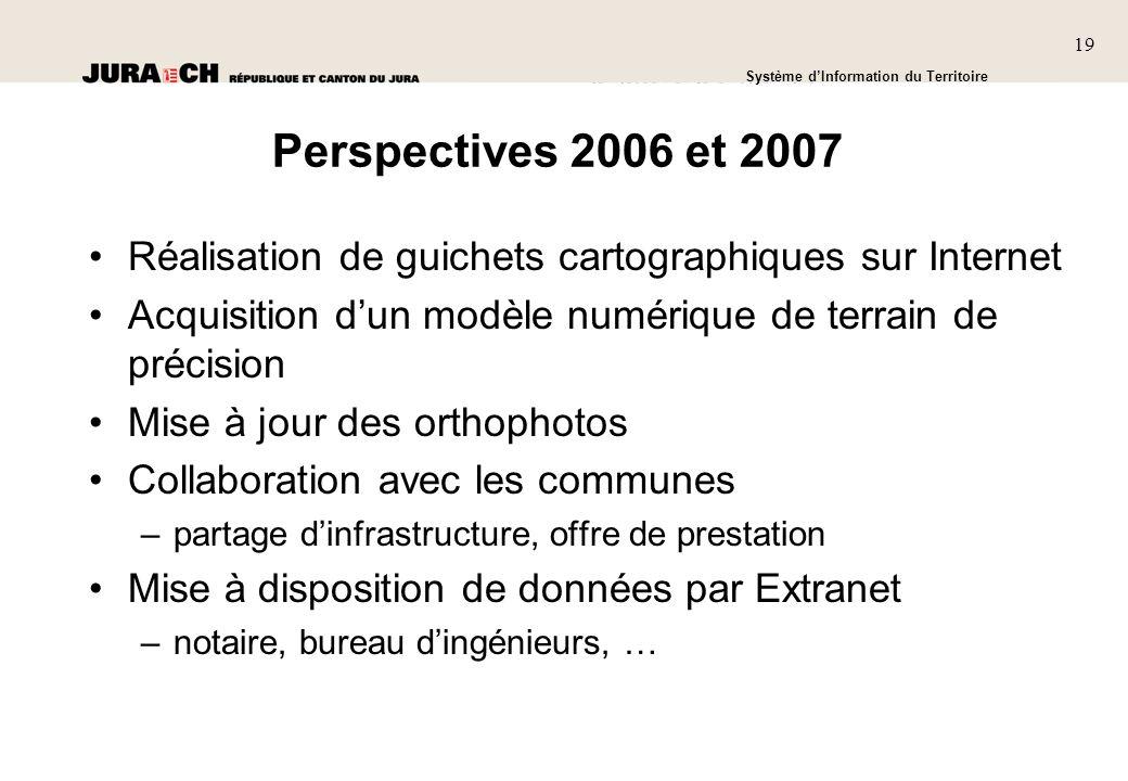 Perspectives 2006 et 2007 Réalisation de guichets cartographiques sur Internet. Acquisition d'un modèle numérique de terrain de précision.