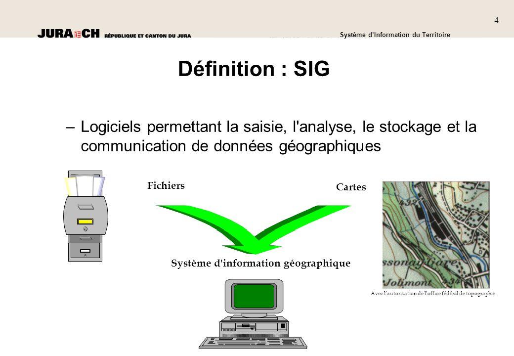 Définition : SIG Logiciels permettant la saisie, l analyse, le stockage et la communication de données géographiques.