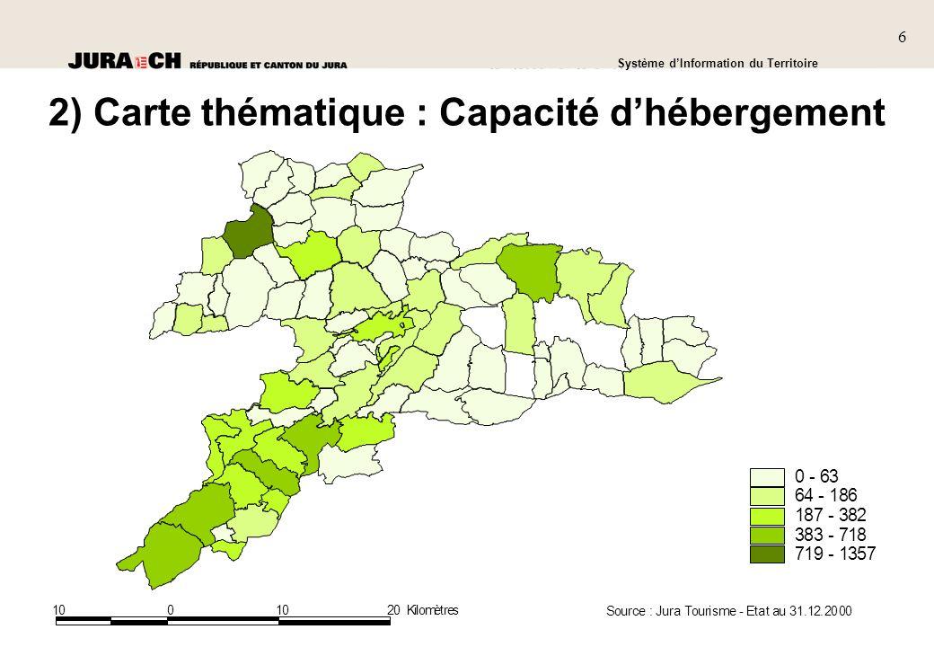 2) Carte thématique : Capacité d'hébergement