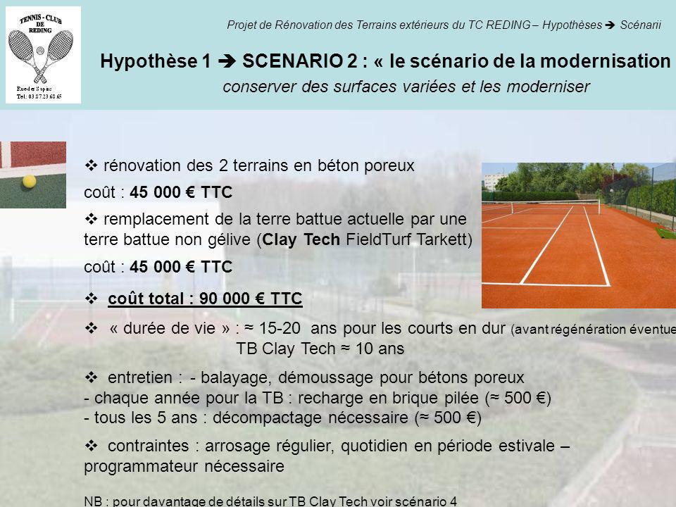 Hypothèse 1  SCENARIO 2 : « le scénario de la modernisation »