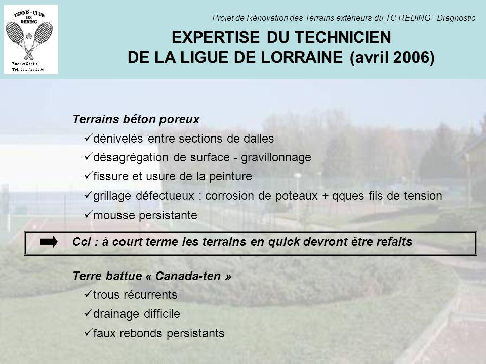 EXPERTISE DU TECHNICIEN DE LA LIGUE DE LORRAINE (avril 2006)