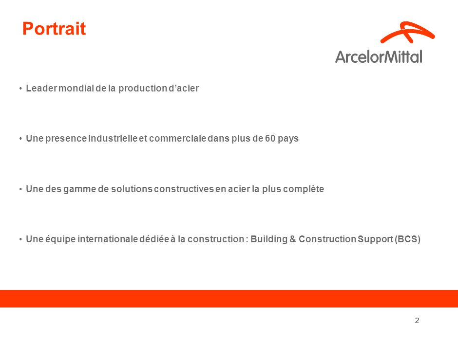 Portrait Leader mondial de la production d'acier
