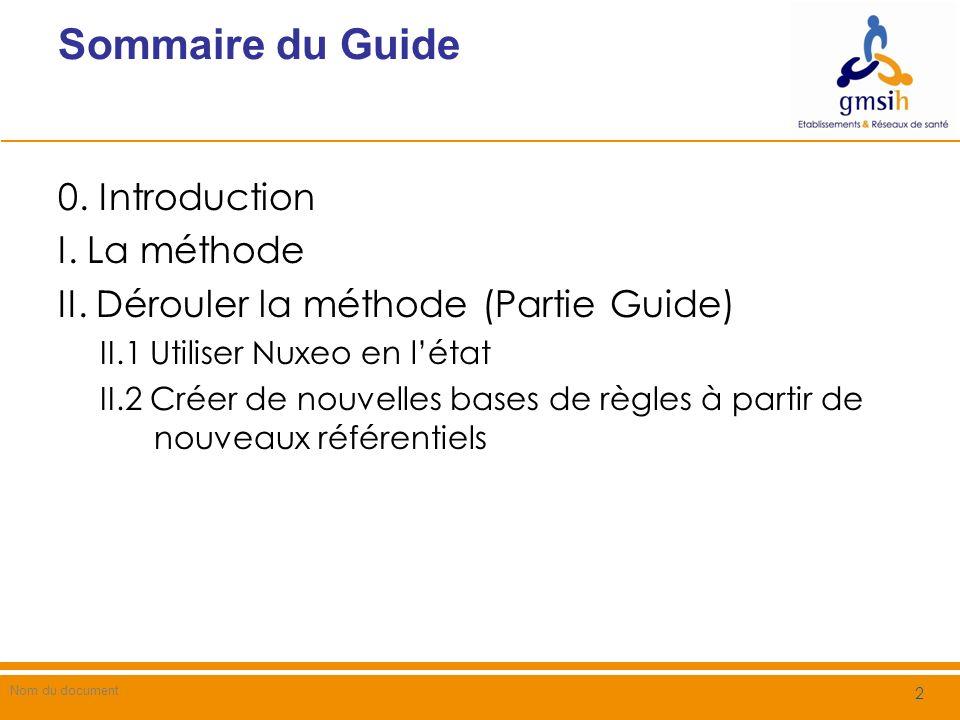 Sommaire du Guide 0. Introduction I. La méthode