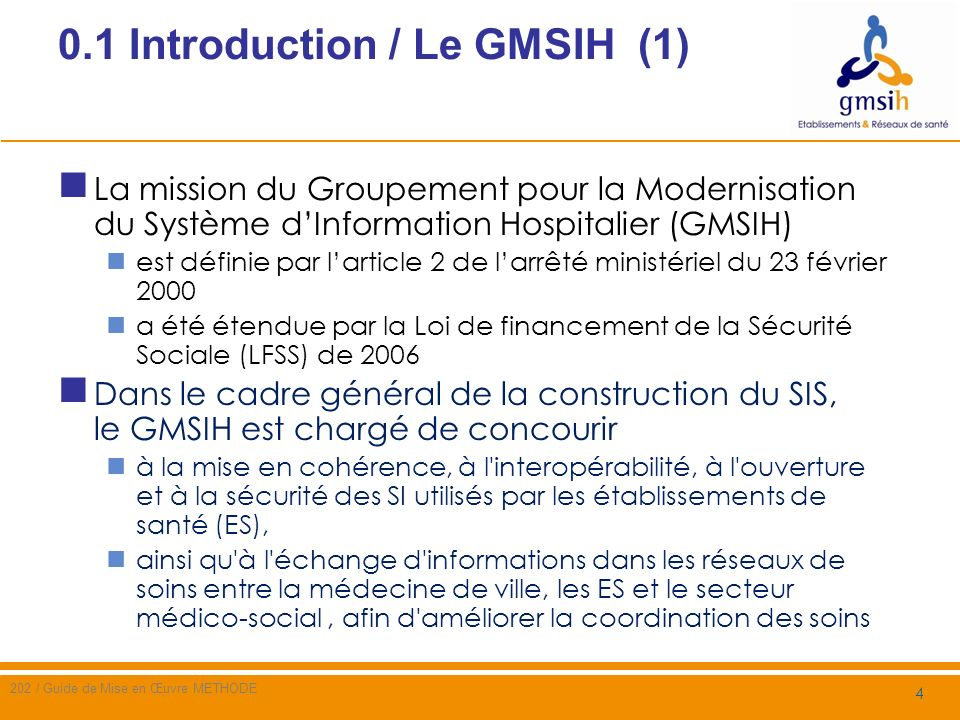 0.1 Introduction / Le GMSIH (1)