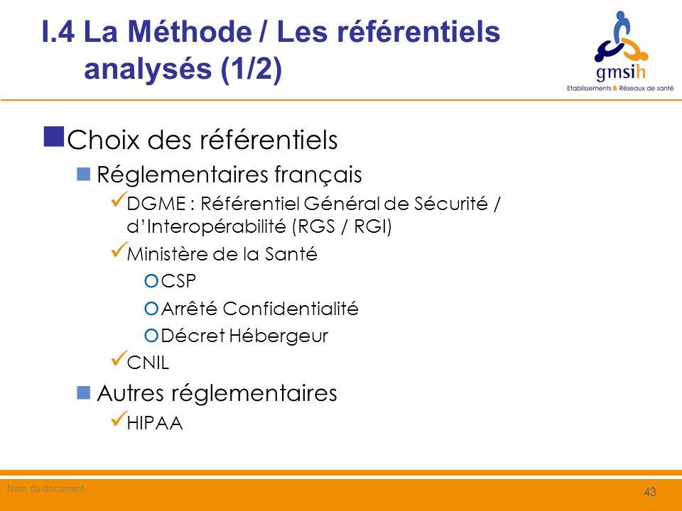 I.4 La Méthode / Les référentiels analysés (1/2)
