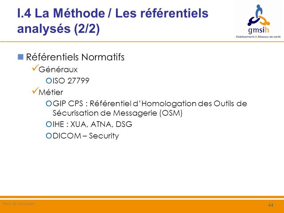 I.4 La Méthode / Les référentiels analysés (2/2)