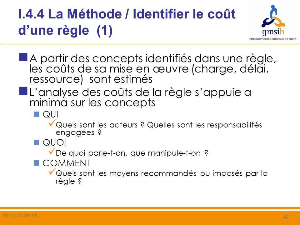 I.4.4 La Méthode / Identifier le coût d'une règle (1)