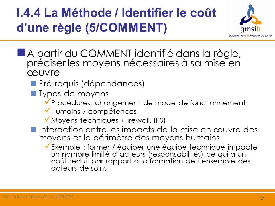 I.4.4 La Méthode / Identifier le coût d'une règle (5/COMMENT)