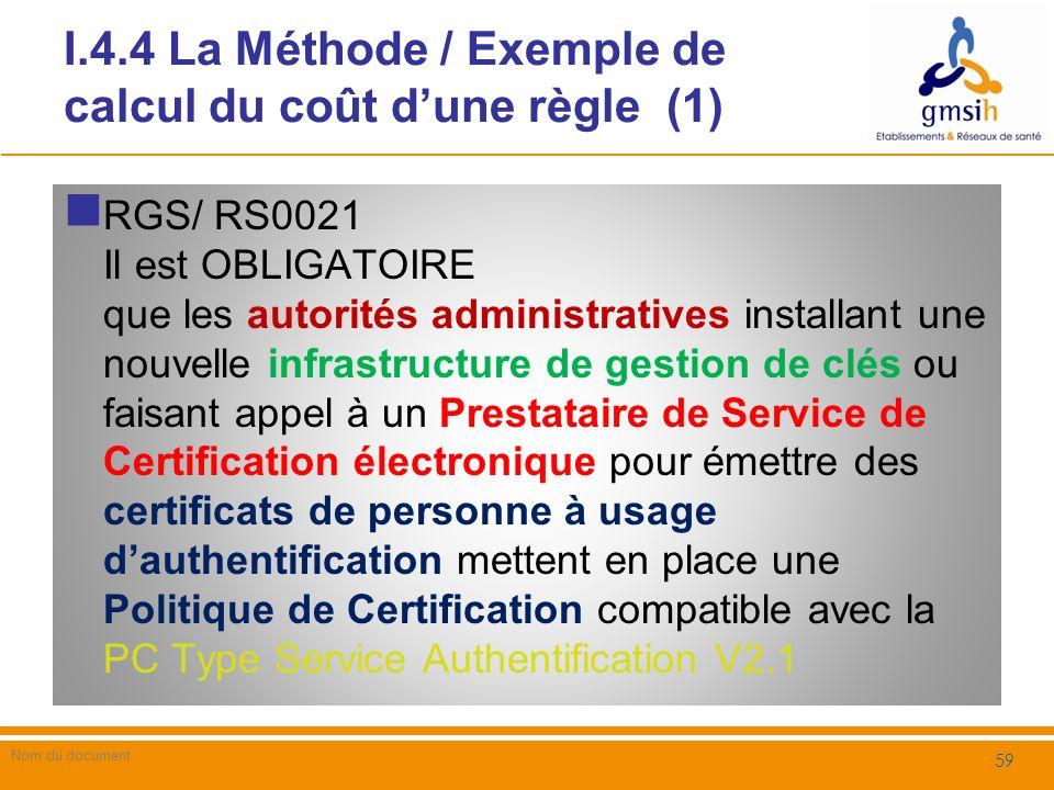 I.4.4 La Méthode / Exemple de calcul du coût d'une règle (1)