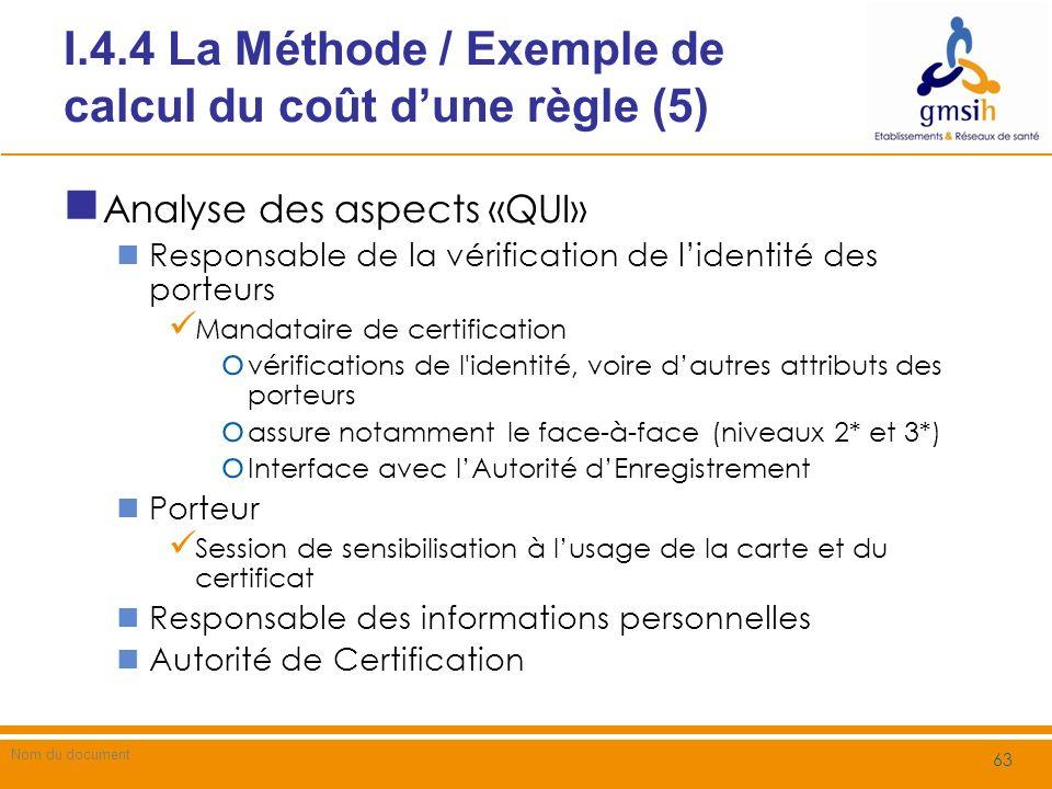 I.4.4 La Méthode / Exemple de calcul du coût d'une règle (5)