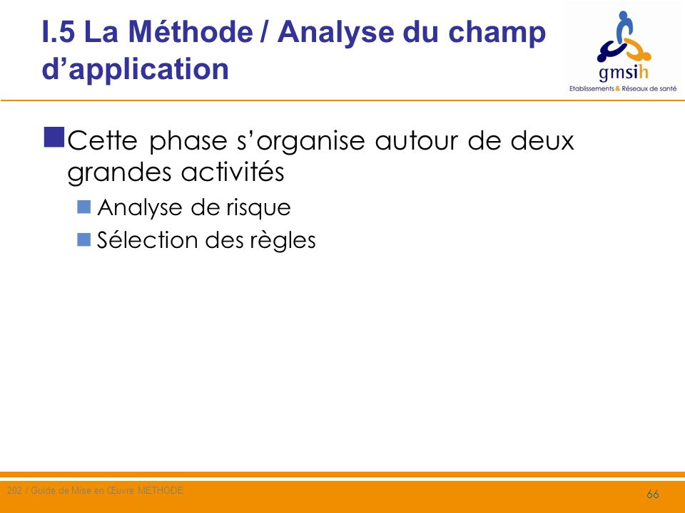 I.5 La Méthode / Analyse du champ d'application