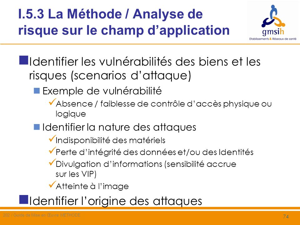 I.5.3 La Méthode / Analyse de risque sur le champ d'application