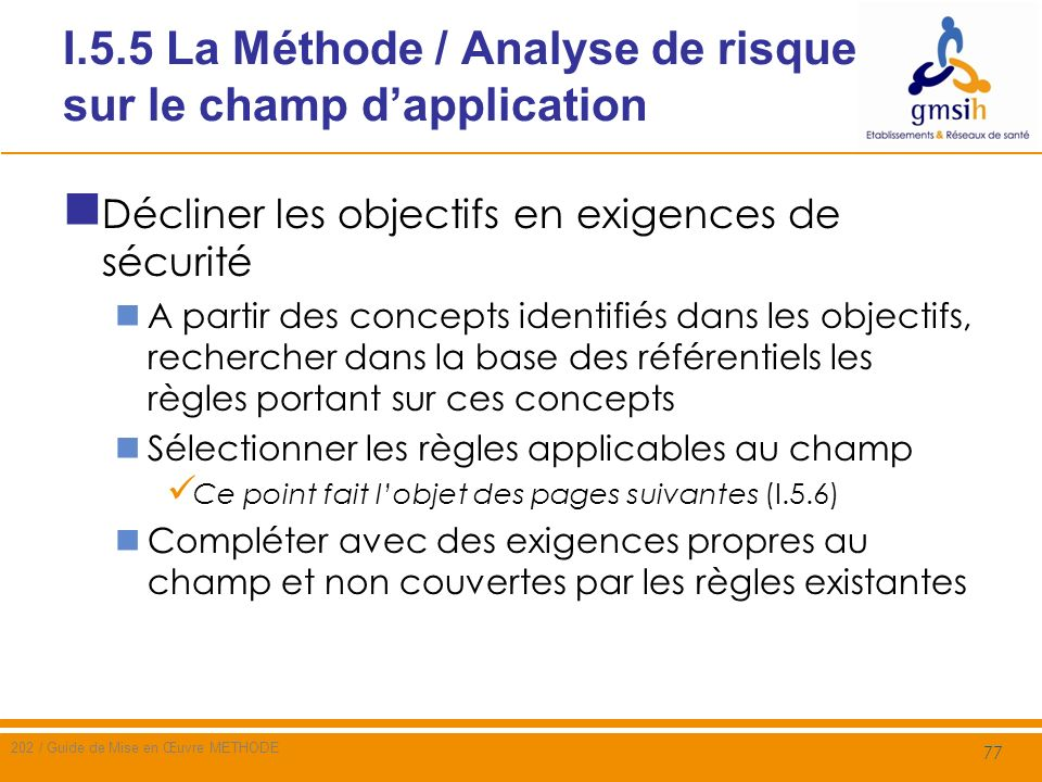 I.5.5 La Méthode / Analyse de risque sur le champ d'application