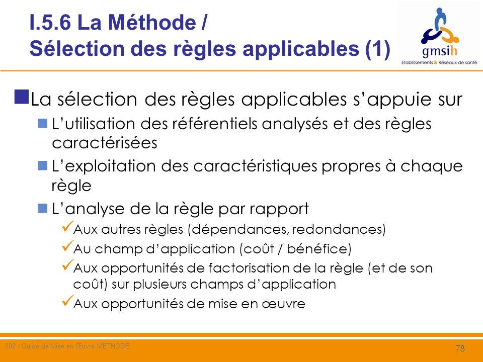 I.5.6 La Méthode / Sélection des règles applicables (1)