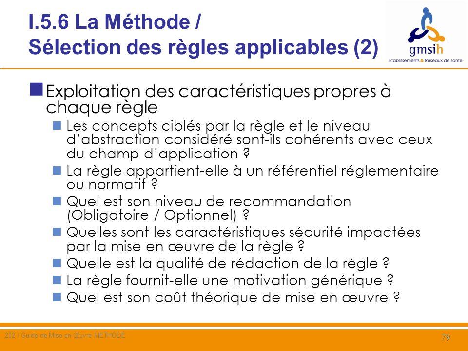 I.5.6 La Méthode / Sélection des règles applicables (2)