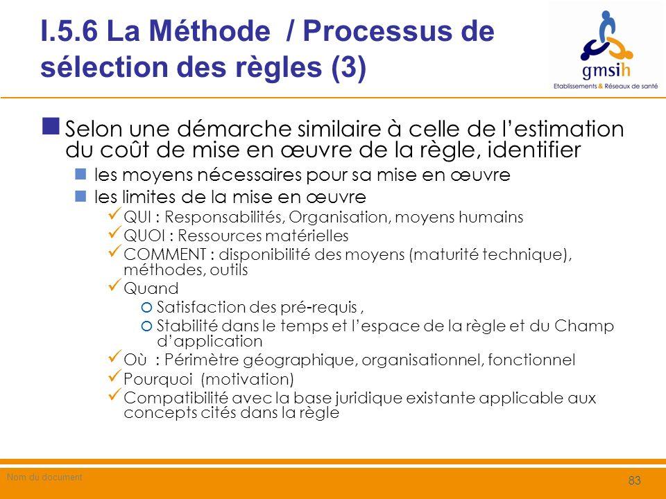I.5.6 La Méthode / Processus de sélection des règles (3)