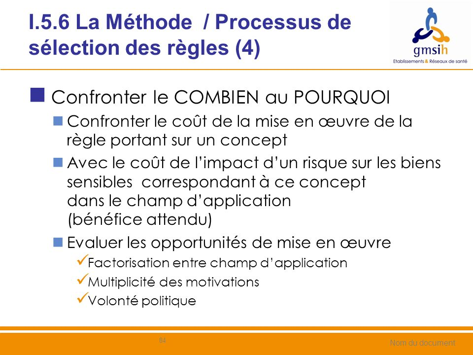 I.5.6 La Méthode / Processus de sélection des règles (4)