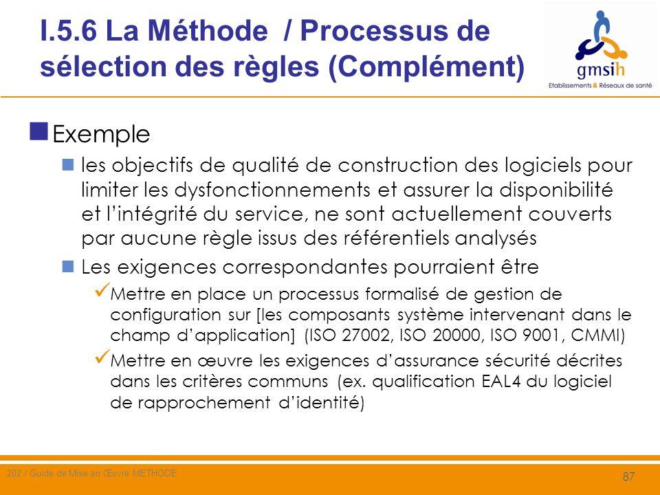 I.5.6 La Méthode / Processus de sélection des règles (Complément)