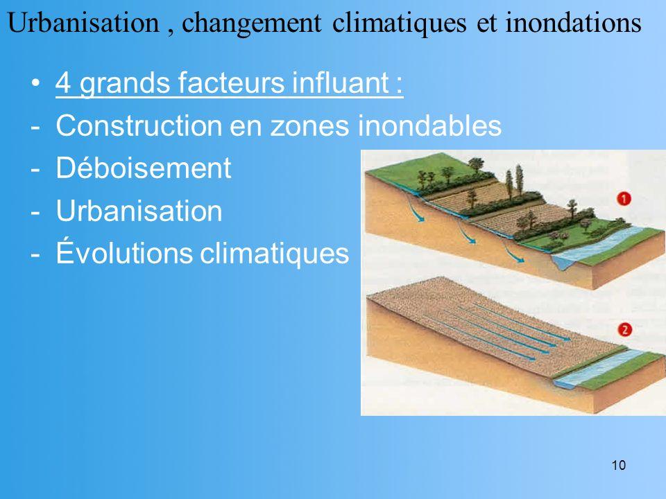 Urbanisation , changement climatiques et inondations