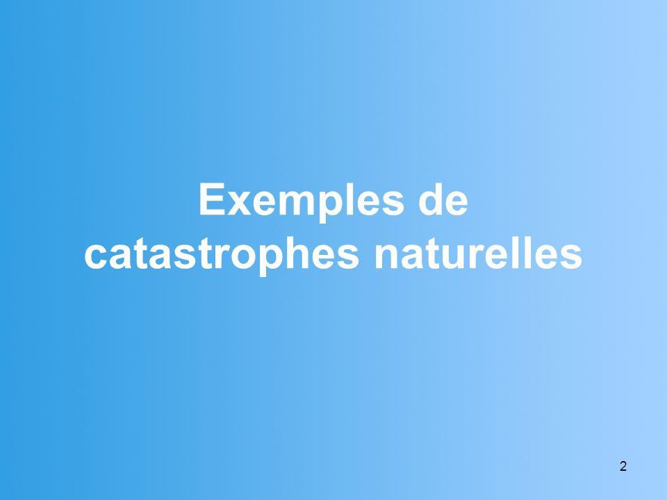 Exemples de catastrophes naturelles