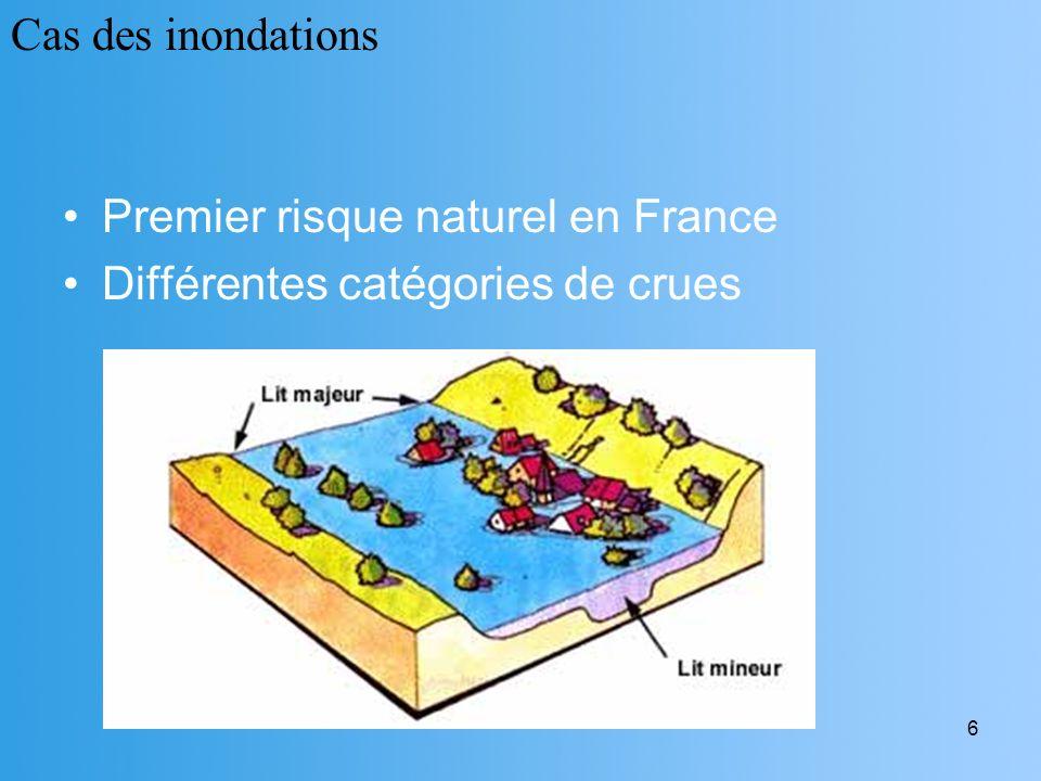 Cas des inondations Premier risque naturel en France Différentes catégories de crues