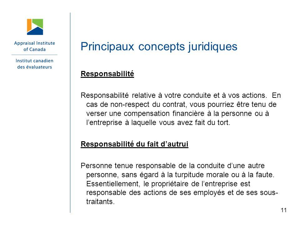 Principaux concepts juridiques