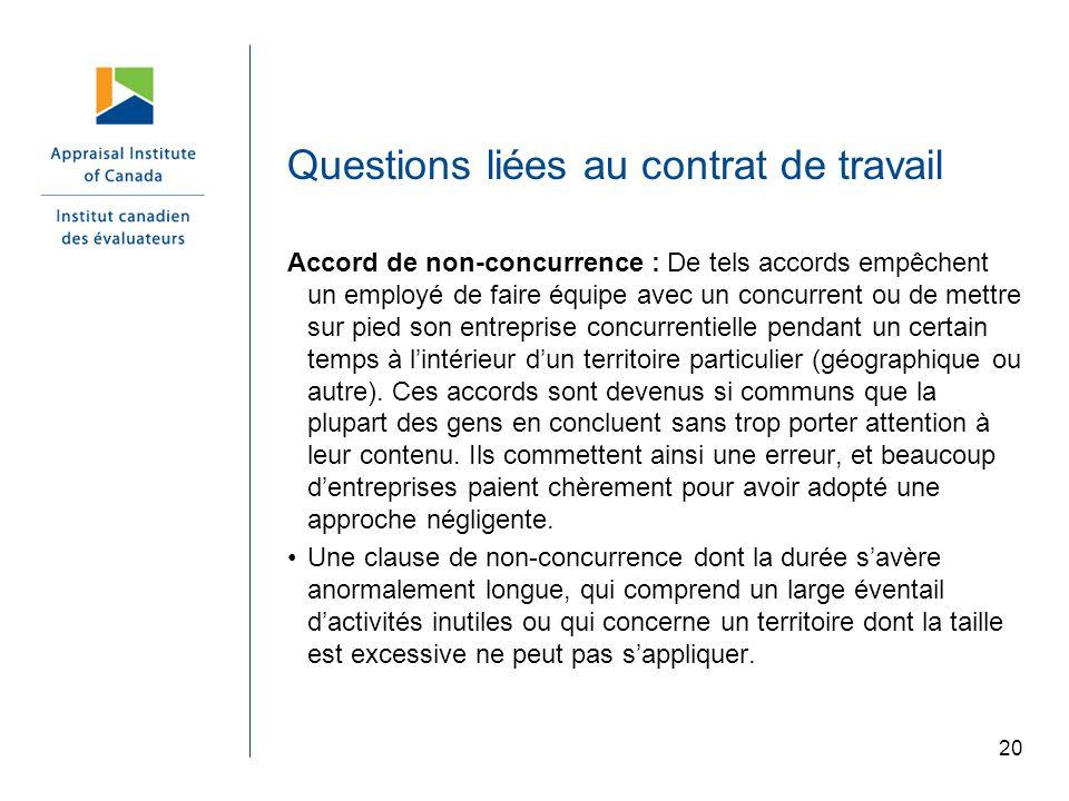 Questions liées au contrat de travail