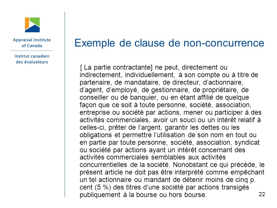 Exemple de clause de non-concurrence