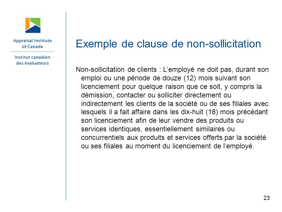 Exemple de clause de non-sollicitation