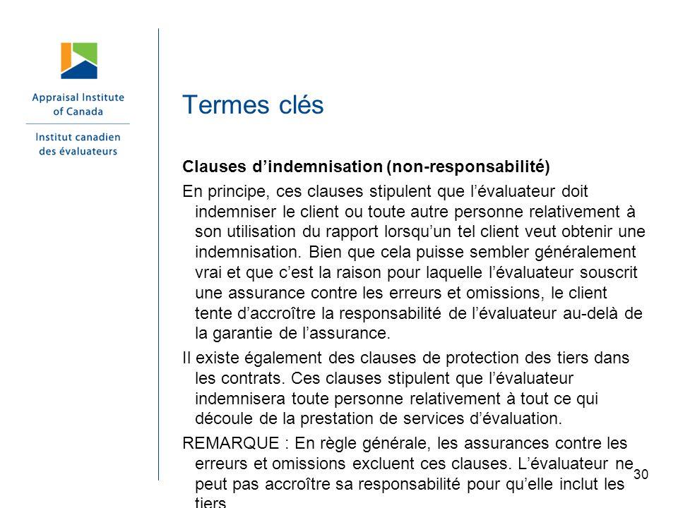 Termes clés Clauses d'indemnisation (non-responsabilité)