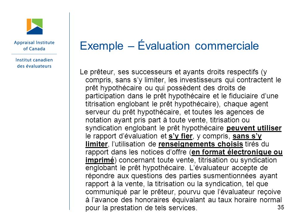 Exemple – Évaluation commerciale