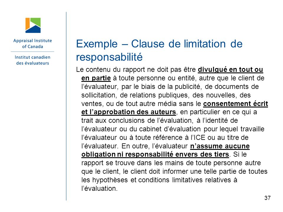 Exemple – Clause de limitation de responsabilité