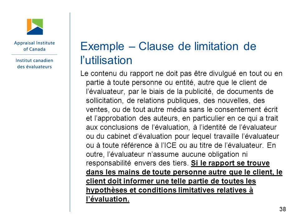 Exemple – Clause de limitation de l'utilisation