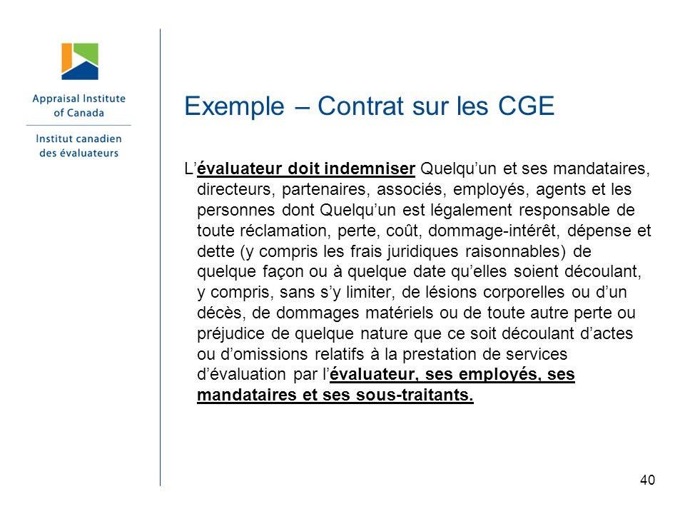 Exemple – Contrat sur les CGE