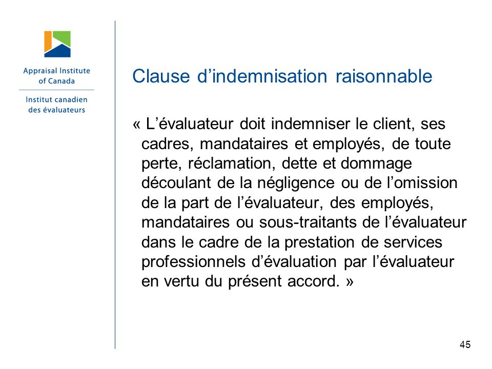 Clause d'indemnisation raisonnable