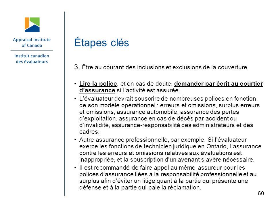 Étapes clés 3. Être au courant des inclusions et exclusions de la couverture.