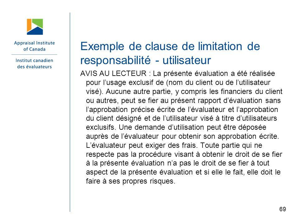 Exemple de clause de limitation de responsabilité - utilisateur