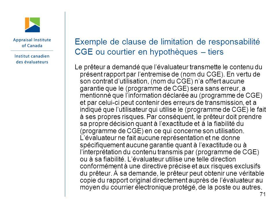 Exemple de clause de limitation de responsabilité CGE ou courtier en hypothèques – tiers