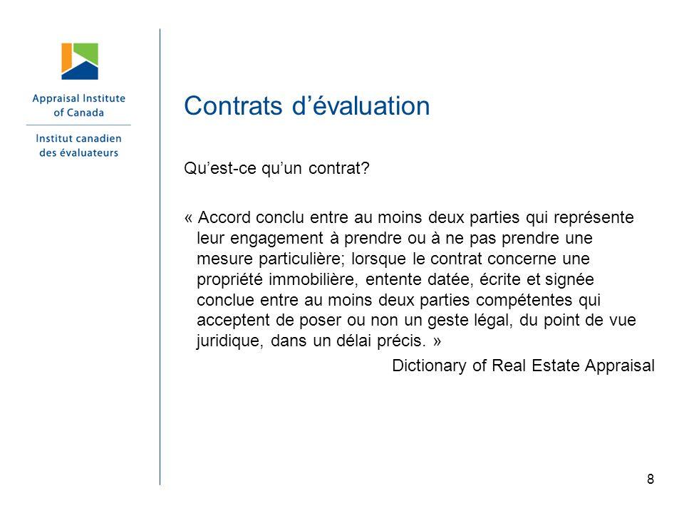 Contrats d'évaluation
