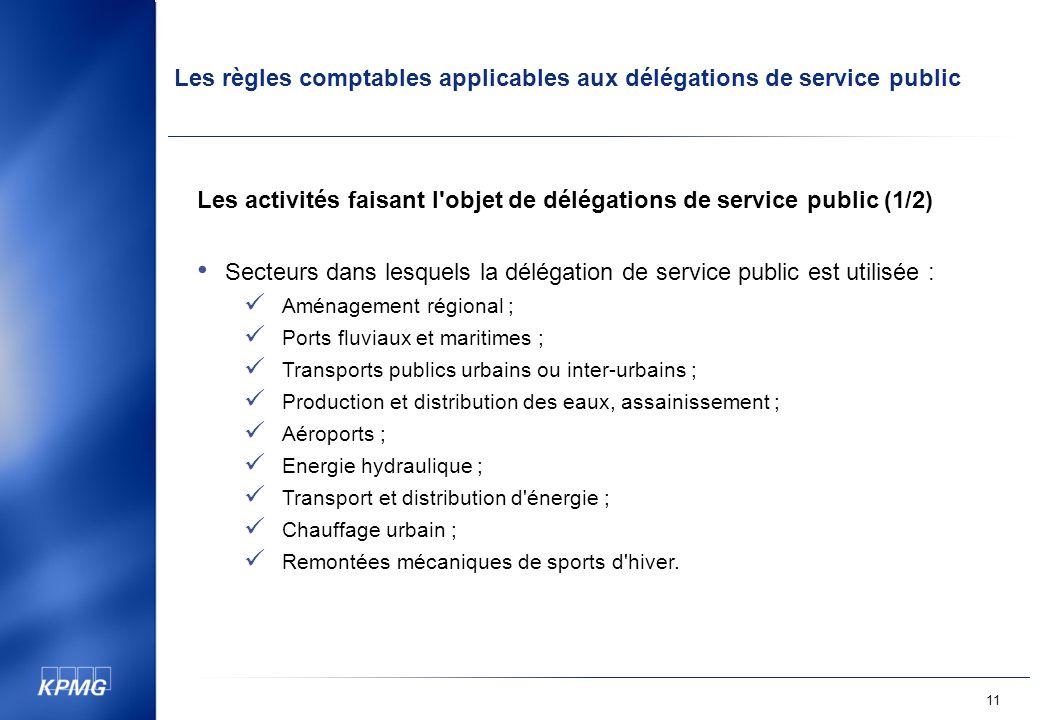 Les activités faisant l objet de délégations de service public (1/2)