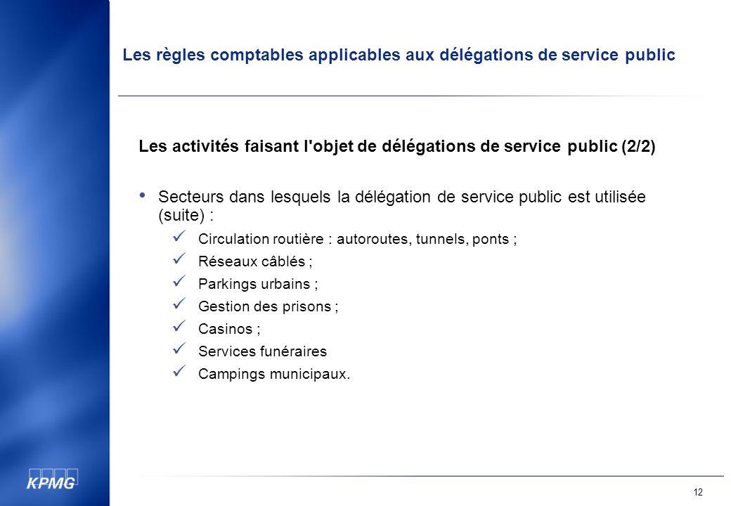 Les activités faisant l objet de délégations de service public (2/2)