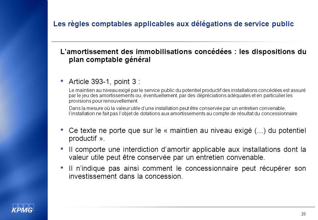 L'amortissement des immobilisations concédées : les dispositions du plan comptable général