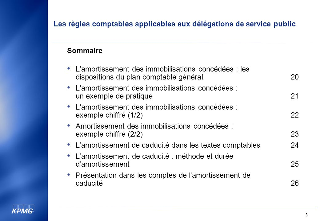 Sommaire L'amortissement des immobilisations concédées : les dispositions du plan comptable général 20.