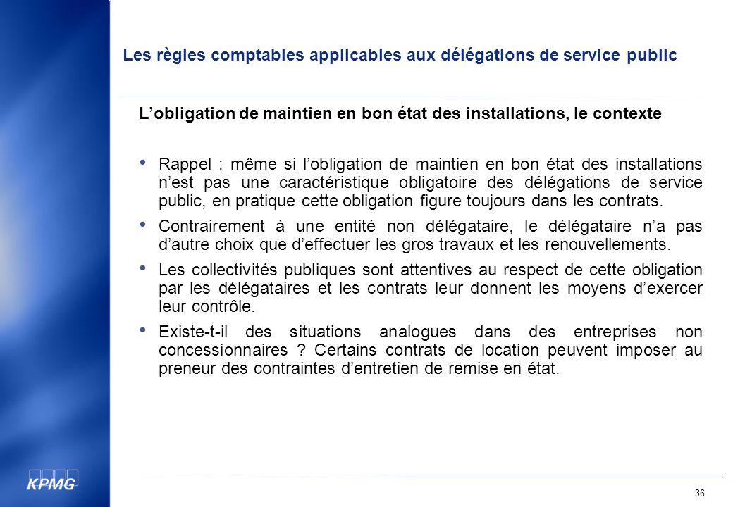 L'obligation de maintien en bon état des installations, le contexte