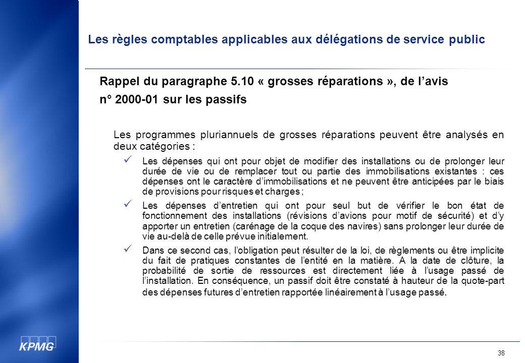 Rappel du paragraphe 5.10 « grosses réparations », de l'avis