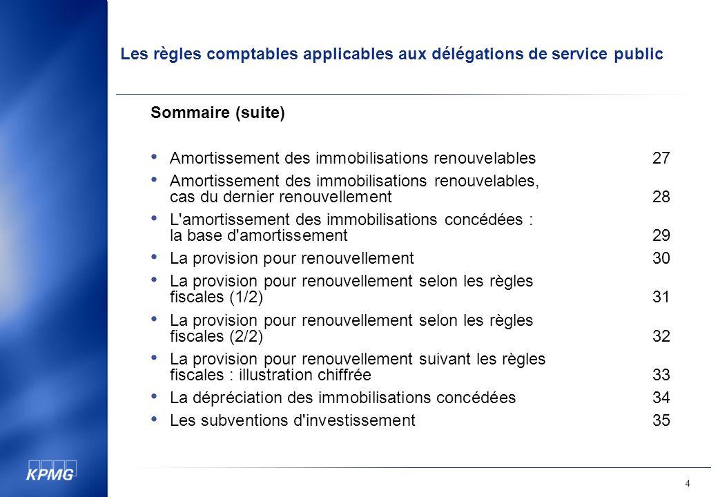 Sommaire (suite) Amortissement des immobilisations renouvelables 27.