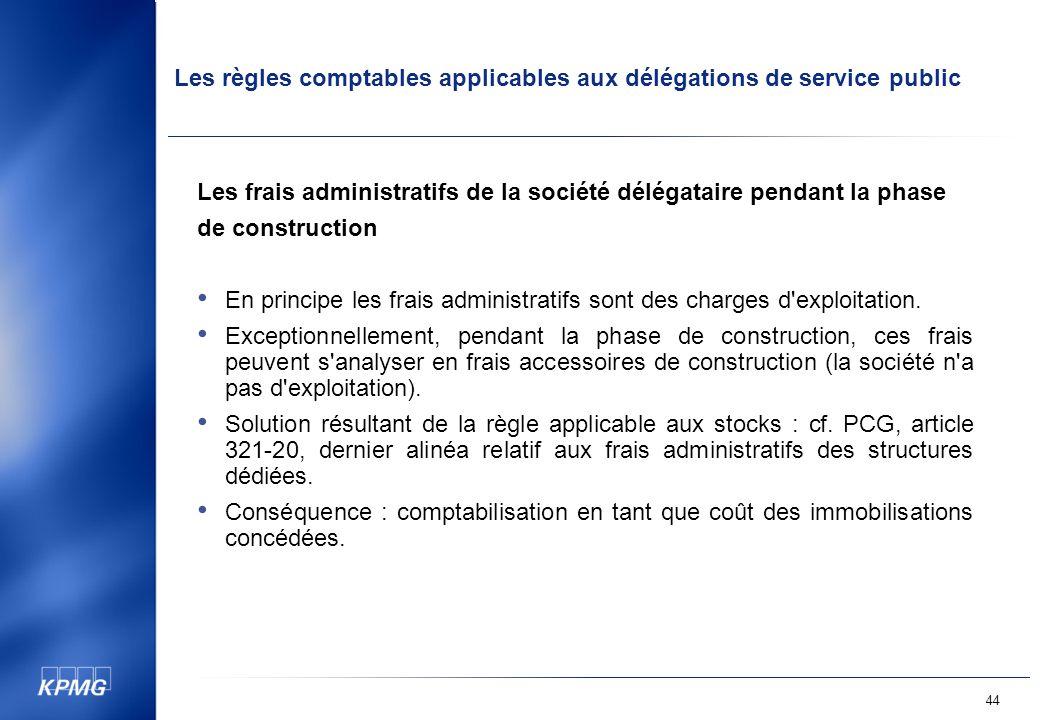 Les frais administratifs de la société délégataire pendant la phase