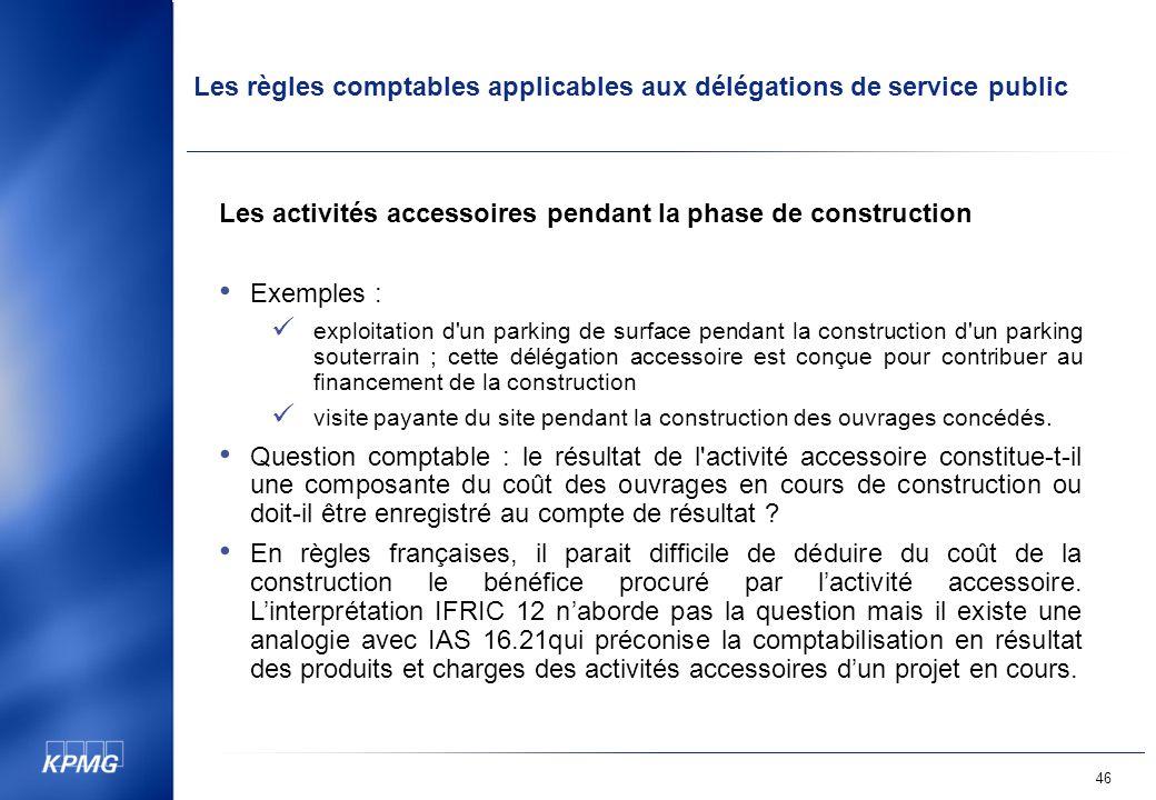 Les activités accessoires pendant la phase de construction Exemples :